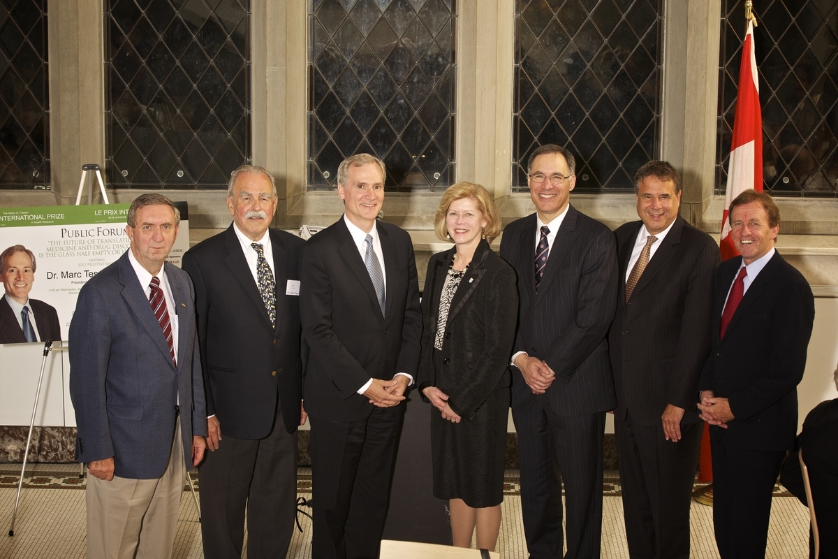 2012 Friesen Prize Program in Ottawa - Left to Right: Dr. Tom Marrie, President of CAHS; Dr. Aubie Angel, President of FCIHR; 2012 Friesen Prizewinner Dr. Marc Tessier-Lavigne, President of Rockefeller University; Dr. Catharine Whiteside, Dean of Medicine at University of Toronto; Dr. David Eidelman, Dean of Medicine at McGill University; Dr. Alain Beaudet, President of CIHR; Mr. Allan Rock, President of University of Ottawa