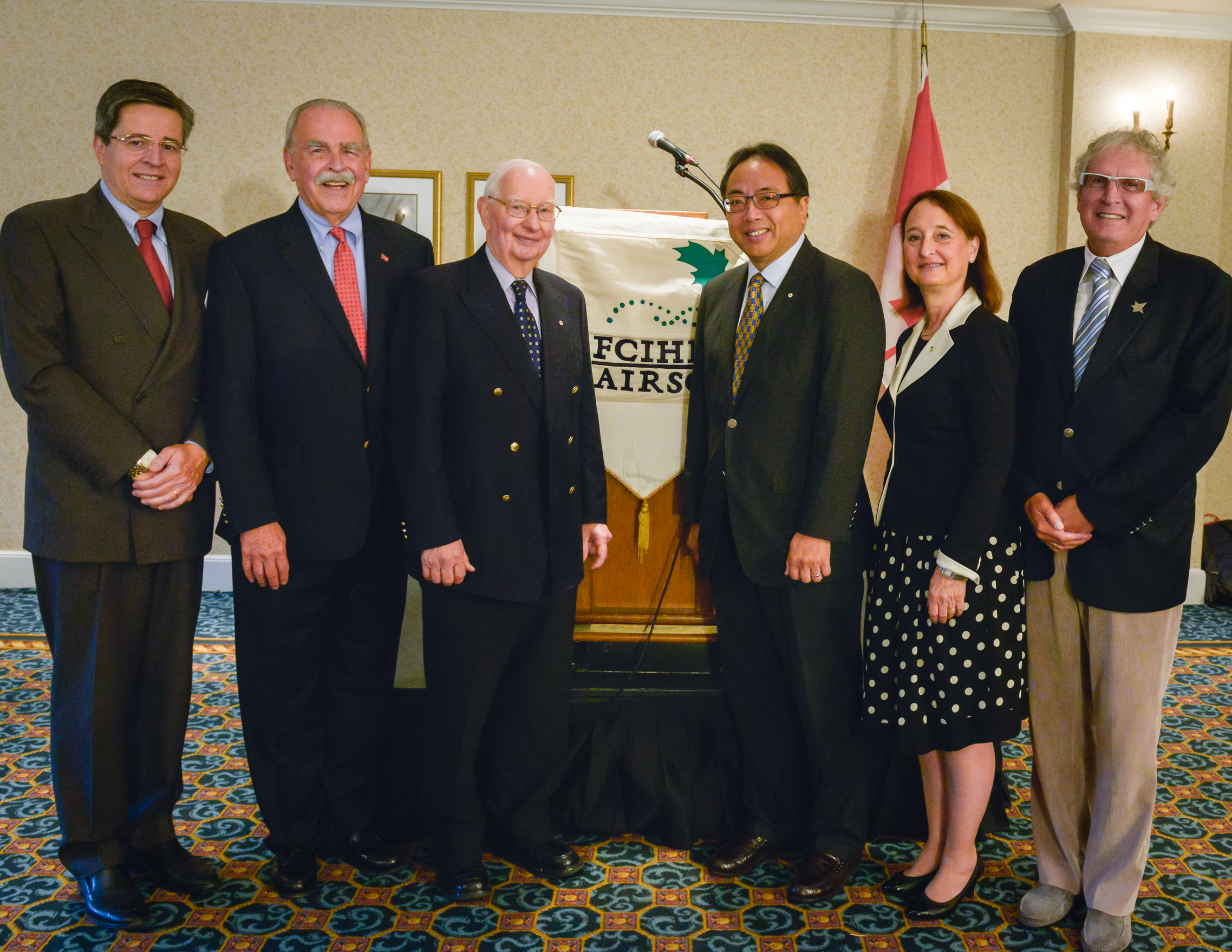 Left to Right: Dr. Thierry Mesana, President and CEO, U Ottawa Heart Institute; Dr. Aubie Angel, President, Friends of CIHR; Dr. Henry G. Friesen, Distinguished Professor Emeritus, U Manitoba; Dr. Lap-Chee Tsui, 2014 Friesen Prizewinner; Dr. Rose Goldstein, Vice-Principal (Research and International Relations), McGill; Dr. Bruce McManus, VP, FCIHR.