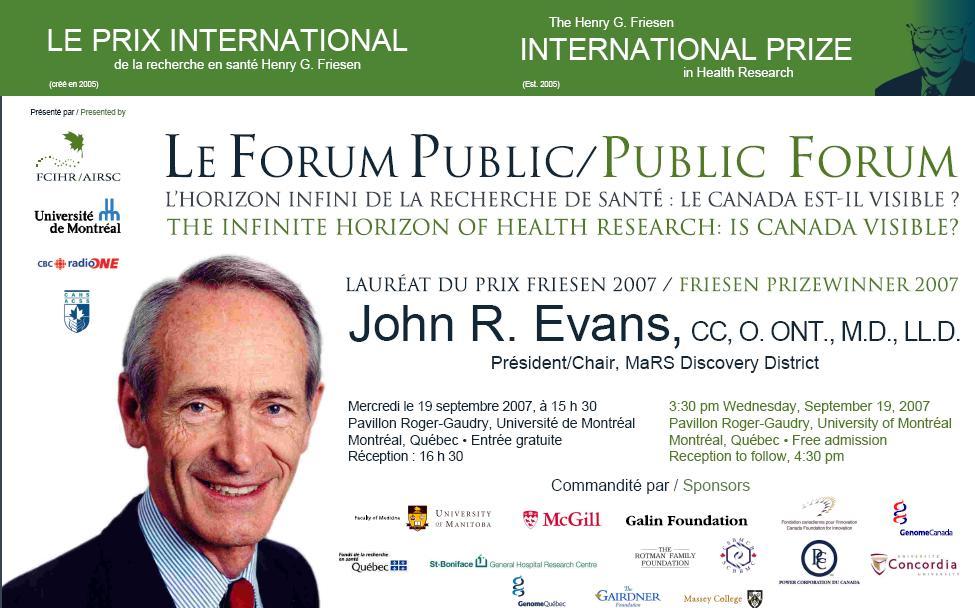 2007 Friesen Prize - Public Forum - John Evans