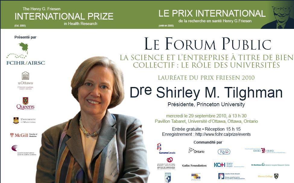 2010 Friesen Prize - Public Forum - Shirley Tilghman - French