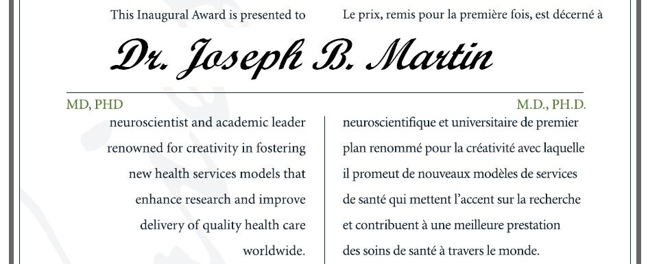 Citation - 2006 Friesen Prize - Joseph Martin