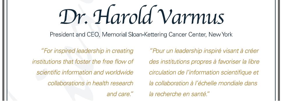 Citation - 2008 Friesen Prize - Harold Varmus