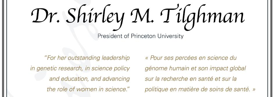 Citation - 2010 Friesen Prize - Shirley Tilghman