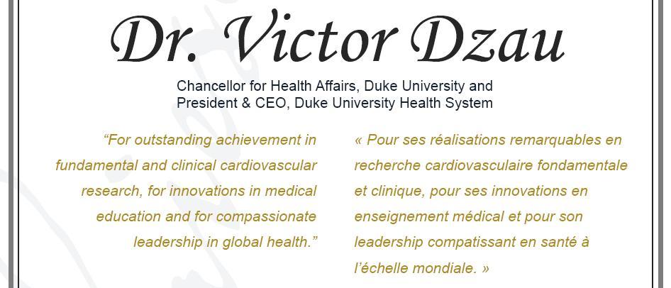 Citation - 2011 Friesen Prize - Victor Dzau