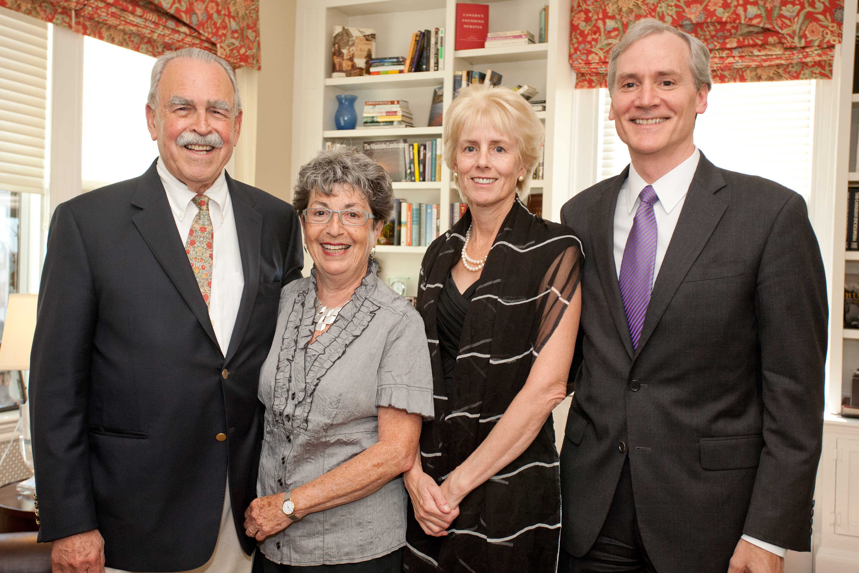 From left to right: Dr. Aubie Angel (President, Friends of CIHR) & Mrs. Esther-Rose Angel and Dr. Mary Hynes & Dr. Marc Tessier-Lavigne (President, Rockefeller University)