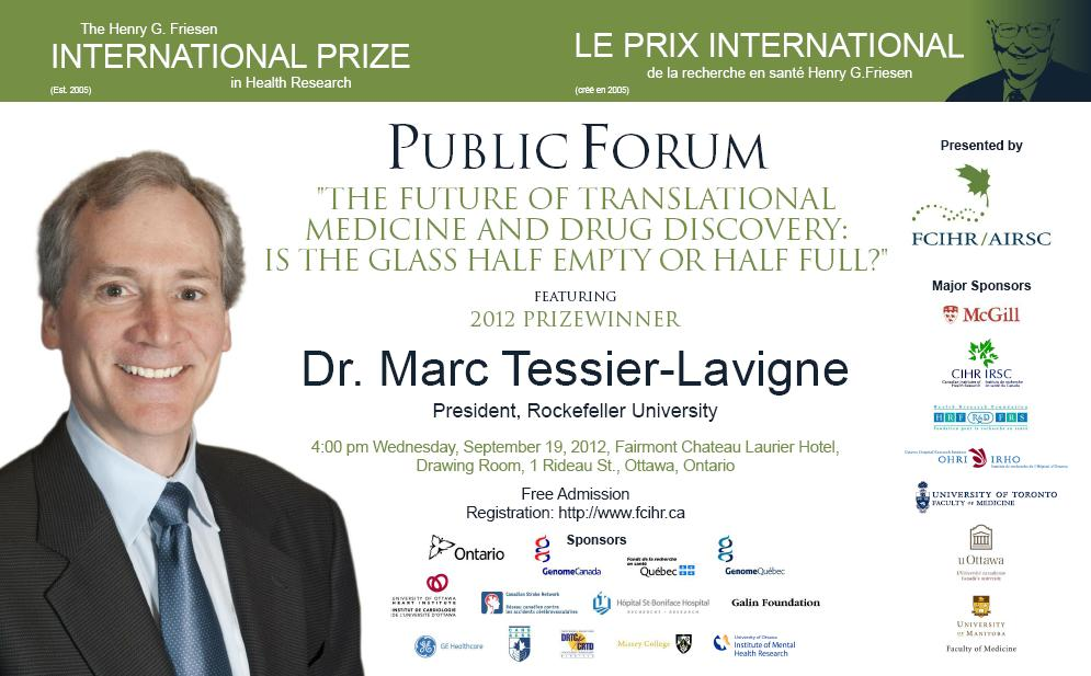 2012 Friesen Prize - Public Forum - Eng - Poster - September 19, 2012