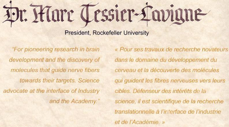 2012 Friesen Prize Citation - Dr. Marc Tessier-Lavigne, President of Rockefeller University
