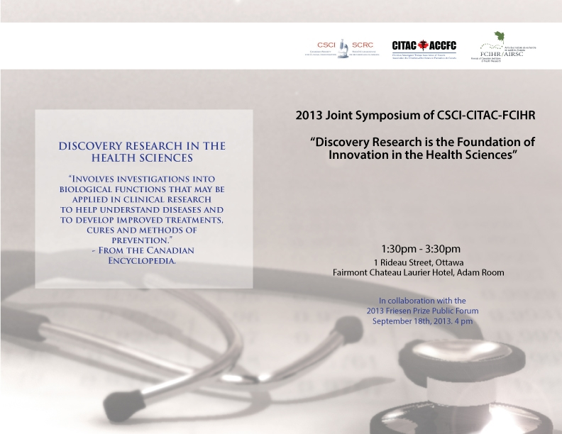 2013 Joint Symposium of CSCI-CITAC-FCIHR - September 18 - Ottawa