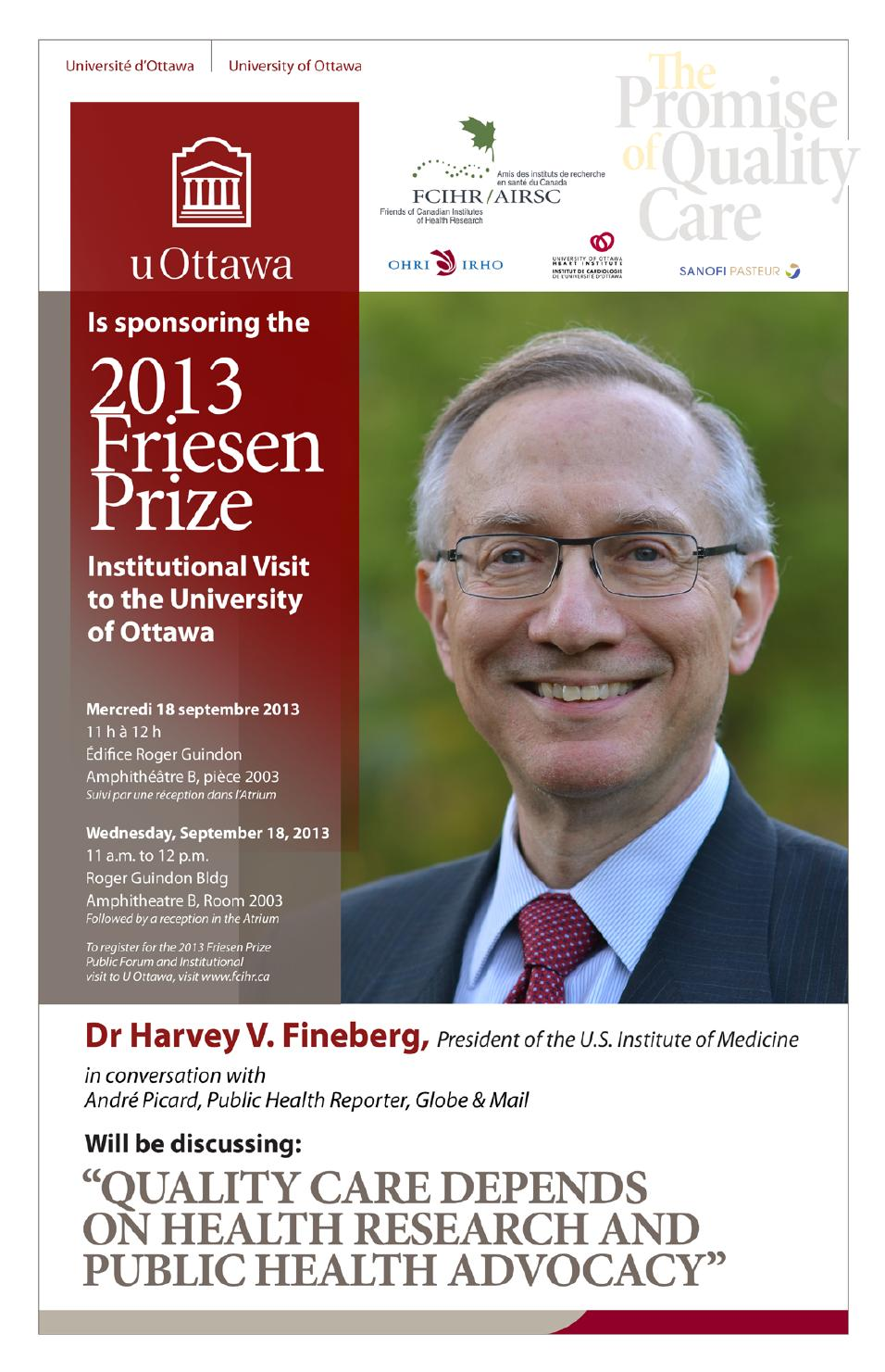 U Ottawa Institutional visit Harvey Fineberg in Conversation with André Picard - Sept 18 - 2013 Friesen Prize - Ottawa