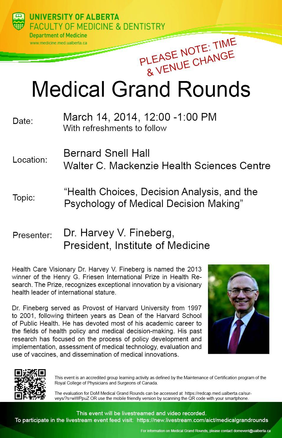U Alberta Medical Grand Rounds - Fineberg - March 14, 2014