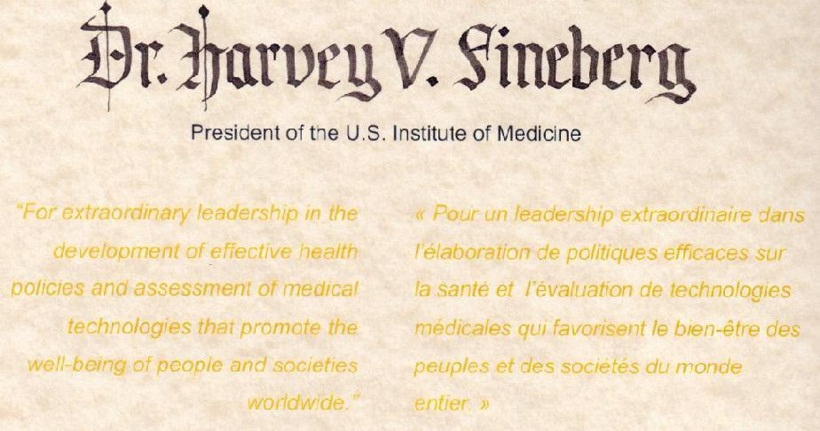 Citation - 2013 Friesen Prize - Dr. Harvey V. Fineberg, President, U.S. Institute of Medicine
