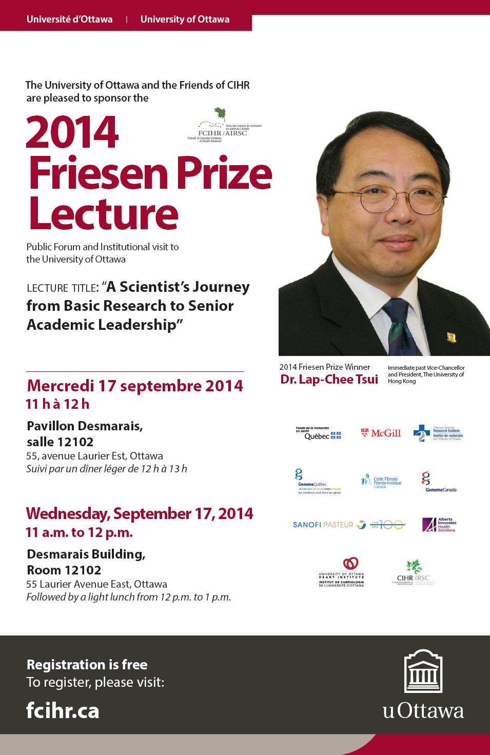 U OTTAWA POSTER - 2014 Friesen Prize Public Forum Lecture - September 17