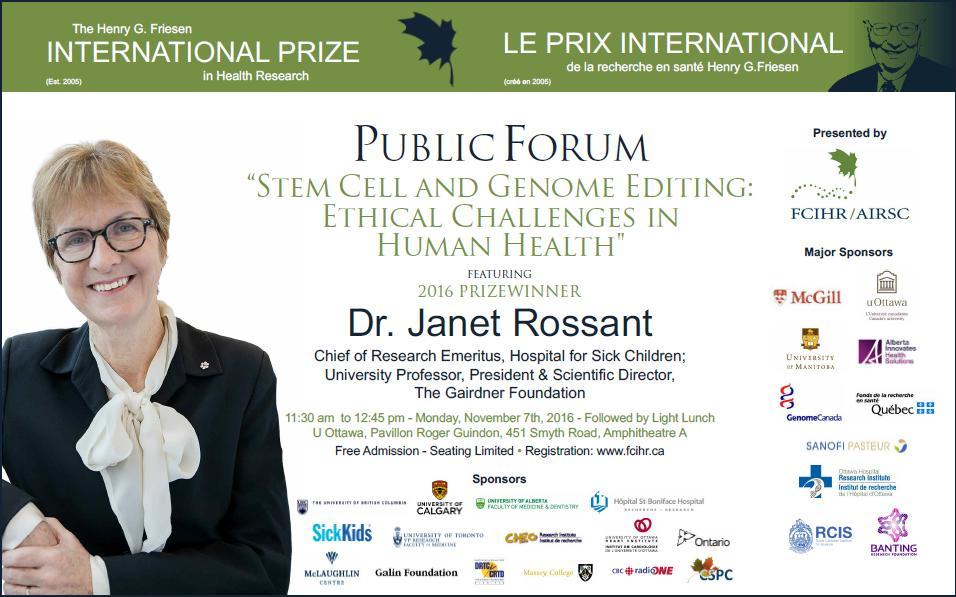 POSTER - 2016 Friesen Prize Public Forum Lecture - Dr. Janet Rossant