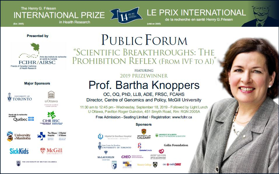 POSTER - 2019 Friesen Prize Lecture at U Ottawa - Prof Bartha Knoppers - September 18, 2019