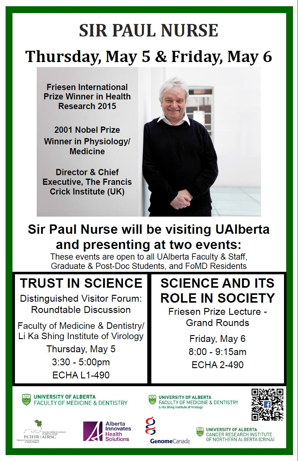 POSTER - U Alberta - via Emily Hoffman - Received on April 20, 2016 - Sir Paul Nurse visit poster