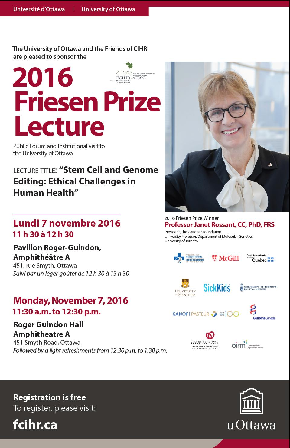 2016 U Ottawa Poster - Dr. Janet Rossant - 2016 Friesen Prizewinner
