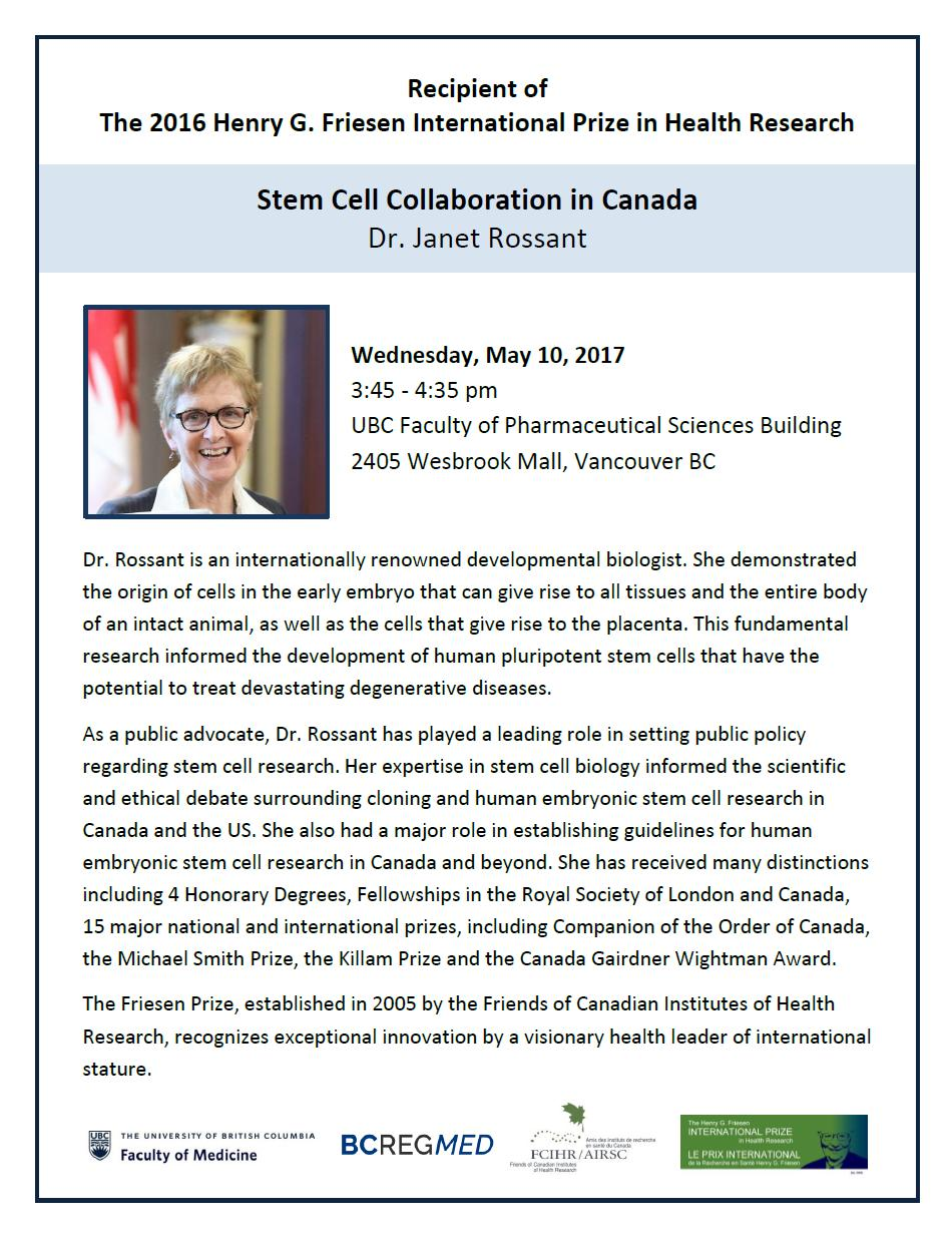 Poster - 2017 UBC - Dr. Janet Rossant
