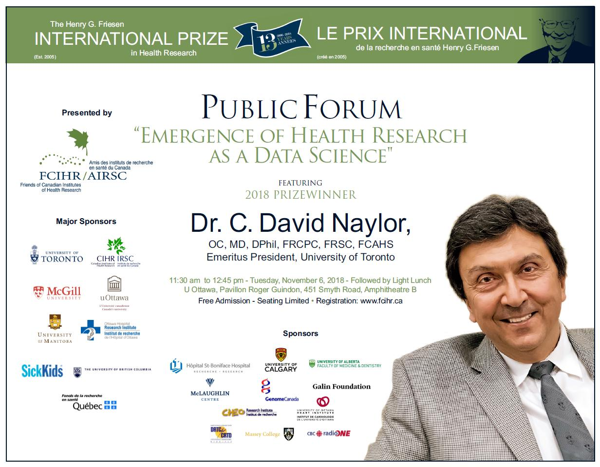 POSTER - 2018 Public Forum Lecture - Dr David Naylor - 2018 Friesen Prize Program in Ottawa - November 6, 2018