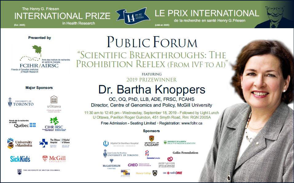 POSTER - 2019 Friesen Prize - Dr Bartha Knoppers - September 18, 2019