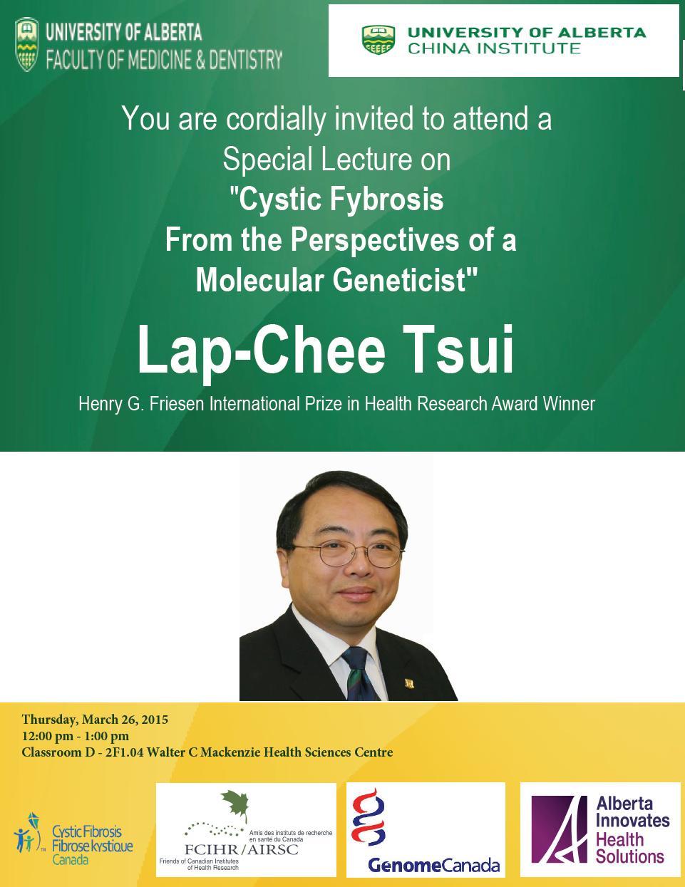 U Alberta Edmonton Poster - Dr. Lap-Chee Tsui