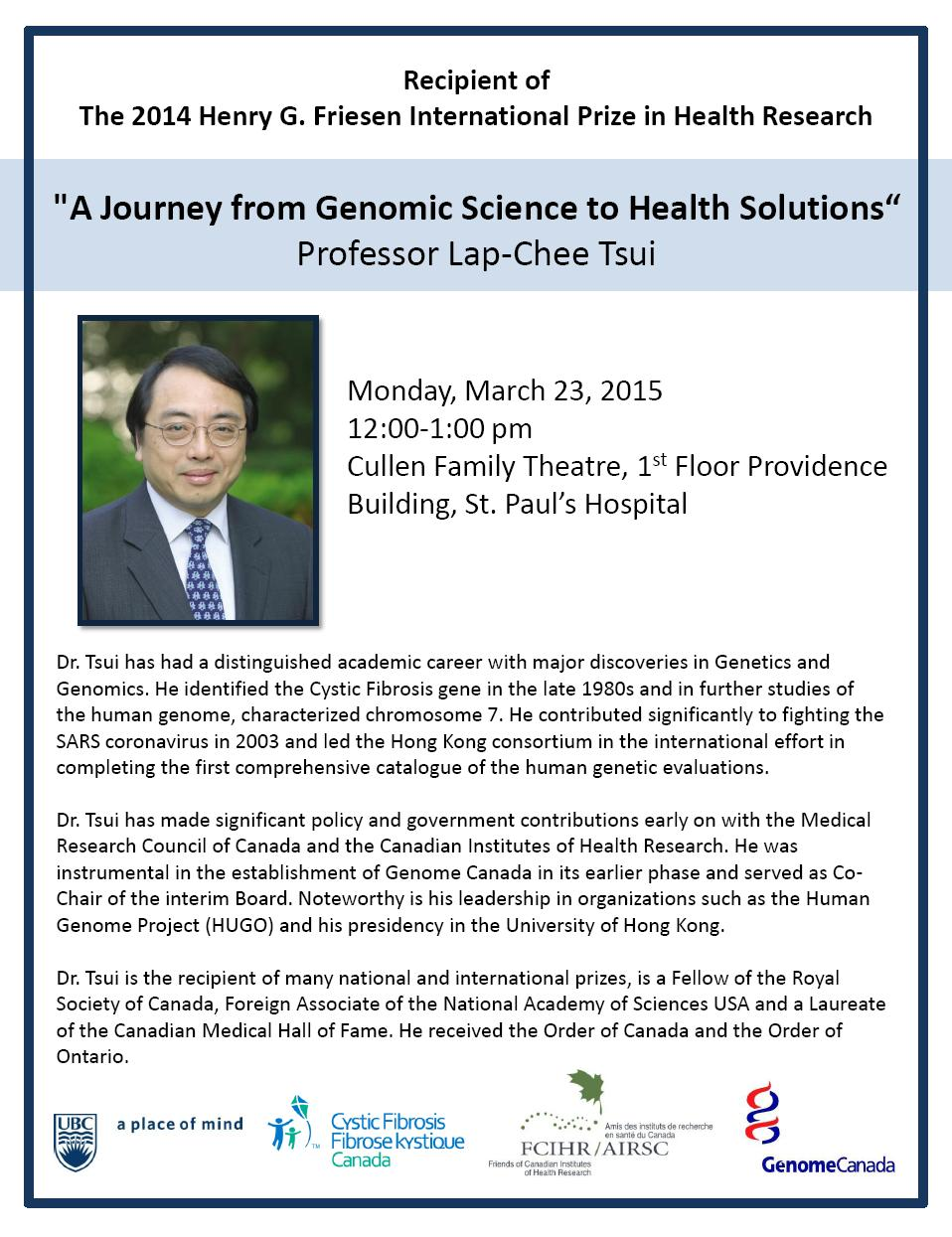 UBC Poster - Dr. Lap-Chee Tsui