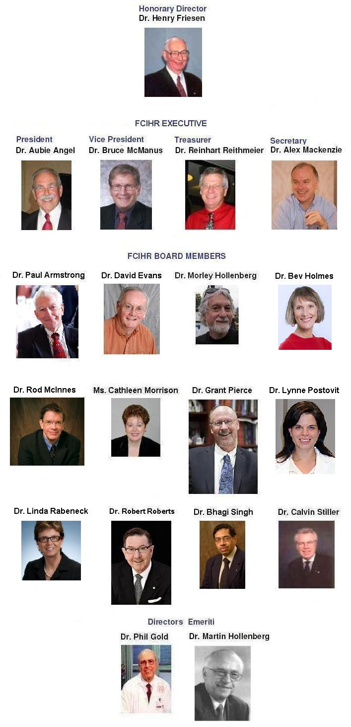 2018 FCIHR Board Members - As of September 1, 2018