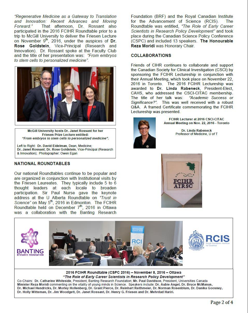 2016 Spotlight Newsletter - FCIHR - As of December 15, 2016