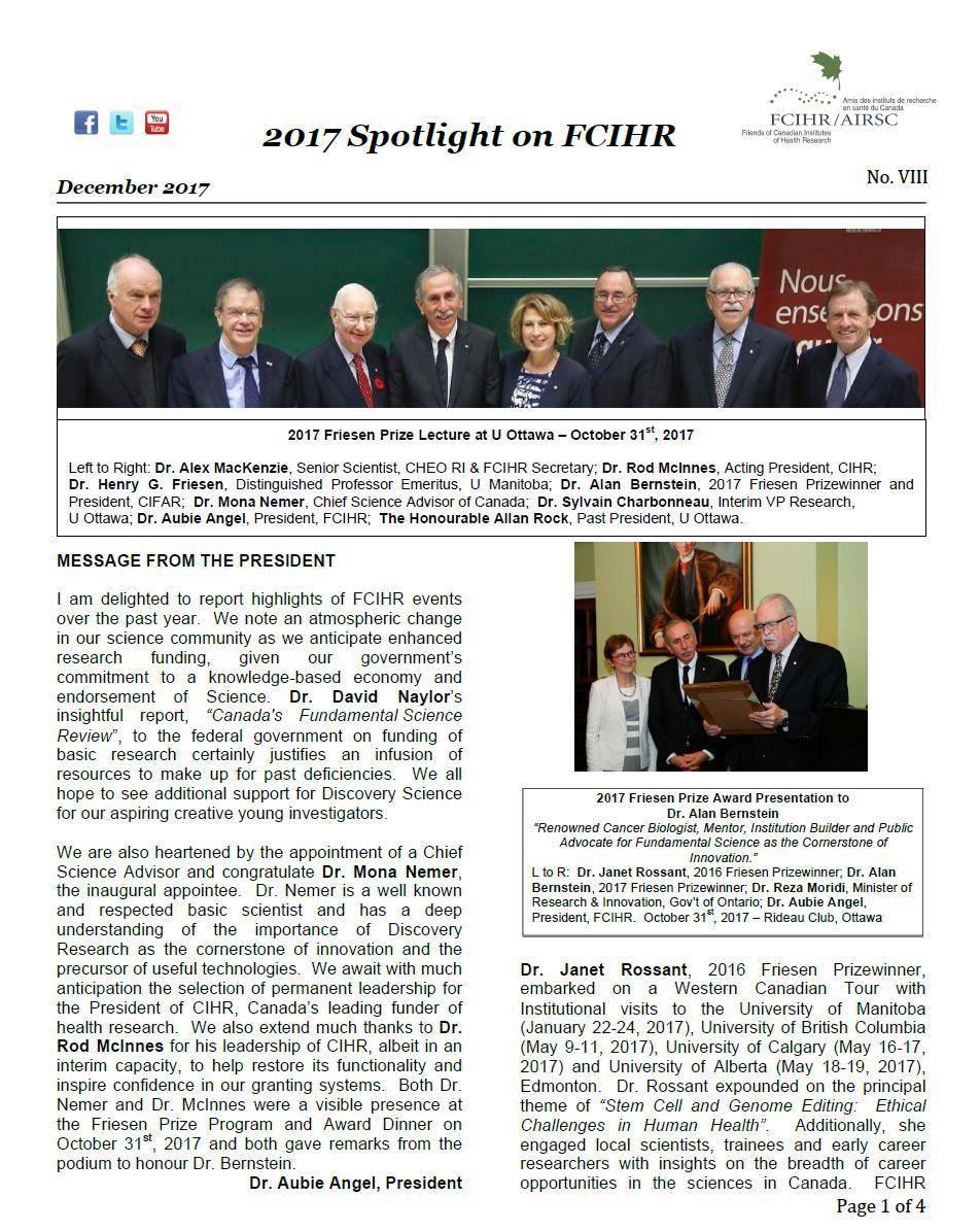 Page 1 - 2017 Spotlight Newsletter of FCIHR