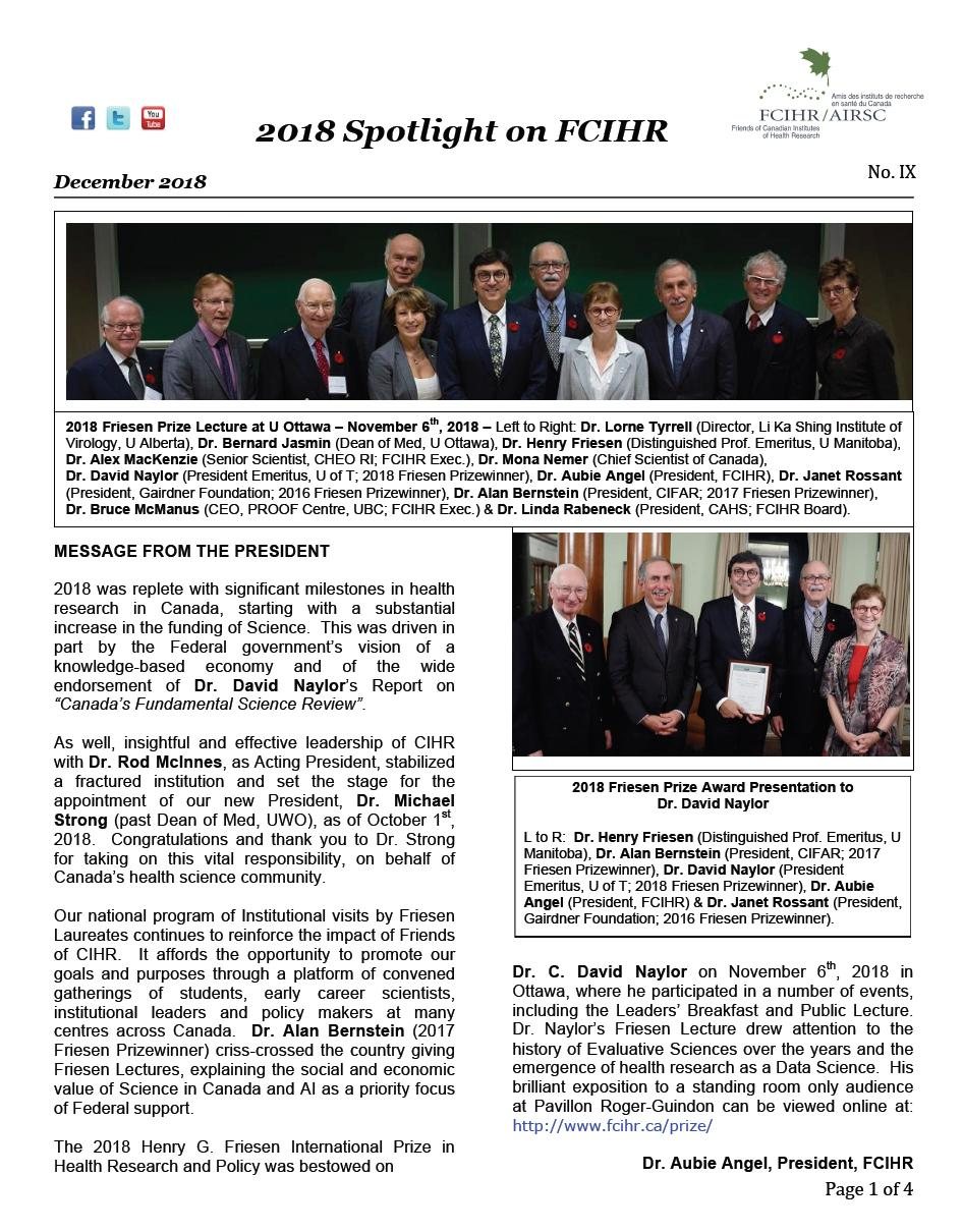 Page 1 - 2018 Spotlight Newsletter of FCIHR_As of December 4, 2018