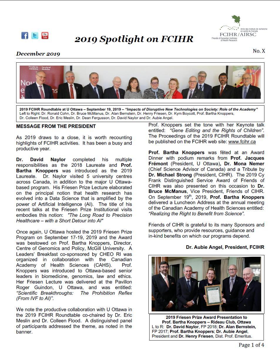 Page 1 - 2019 Spotlight Newsletter of FCIHR
