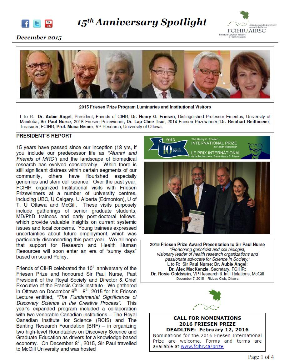 Page 1 - JPEG - 2015 Spotlight Newsletter - FCIHR - BMc - As of January 14, 2016