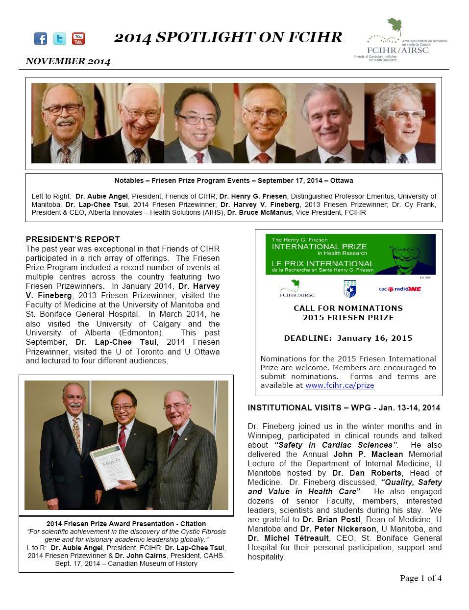 Page 1 - JPG - 2014 Spotlight Newsletter - FCIHR