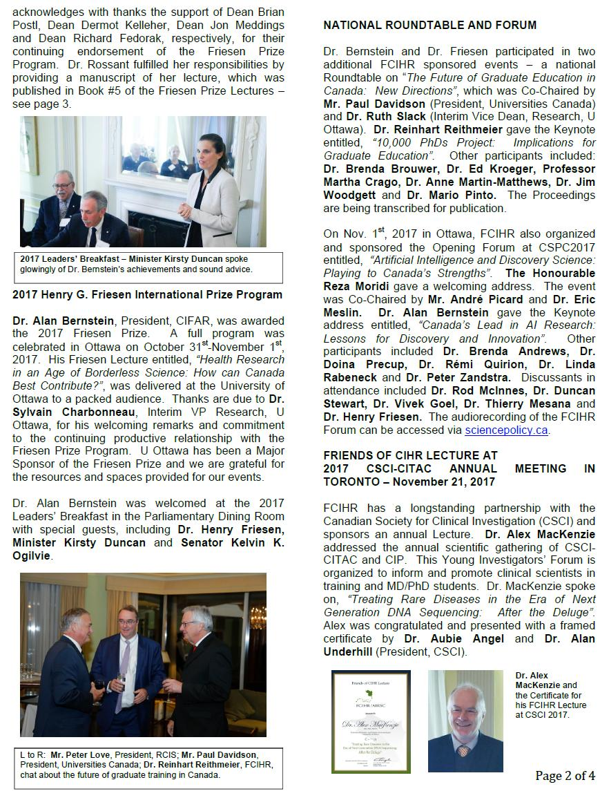 Page 2 - 2017 Spotlight Newsletter of FCIHR