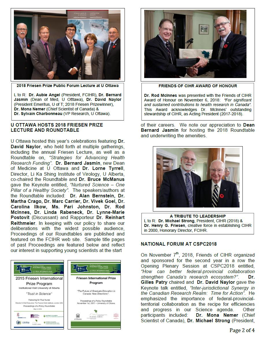 Page 2 - 2018 Spotlight Newsletter of FCIHR_As of December 4, 2018