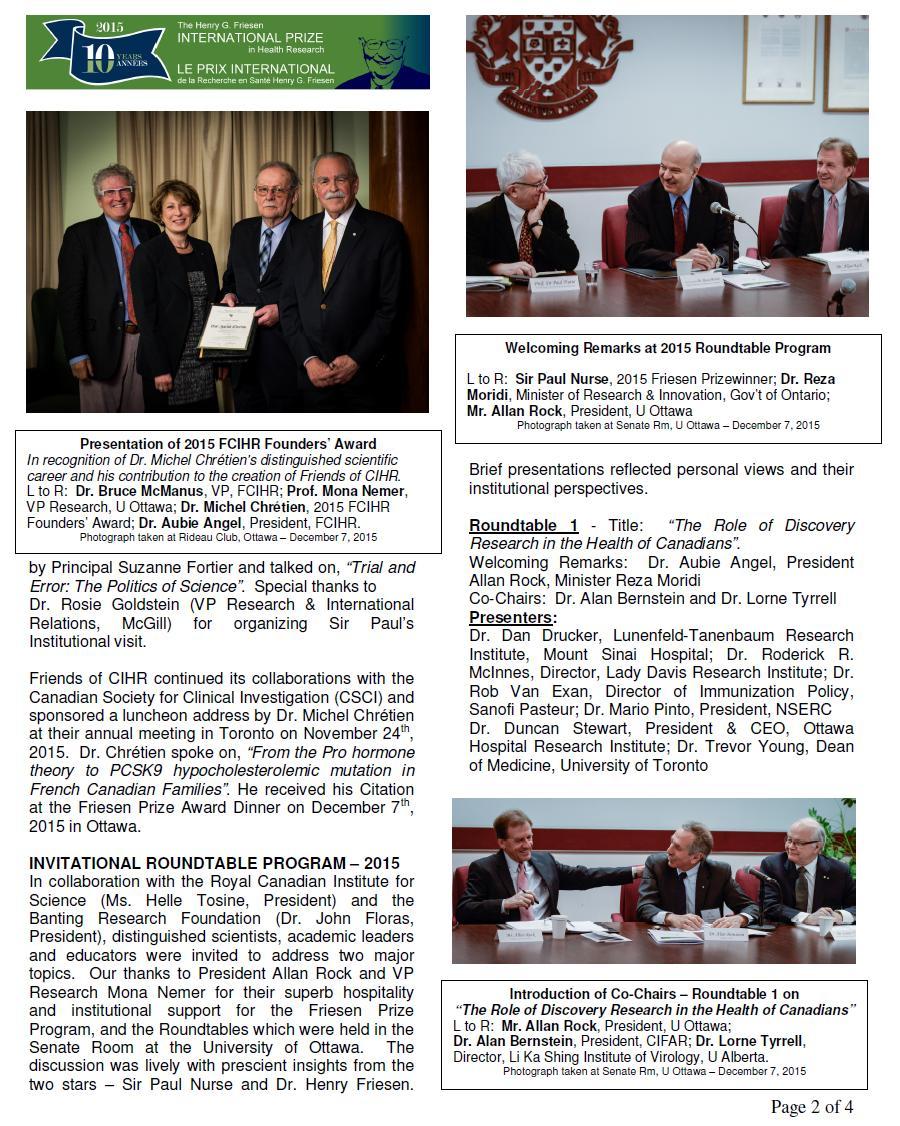 Page 2 - JPEG - 2015 Spotlight Newsletter - FCIHR - BMc - As of January 14, 2016