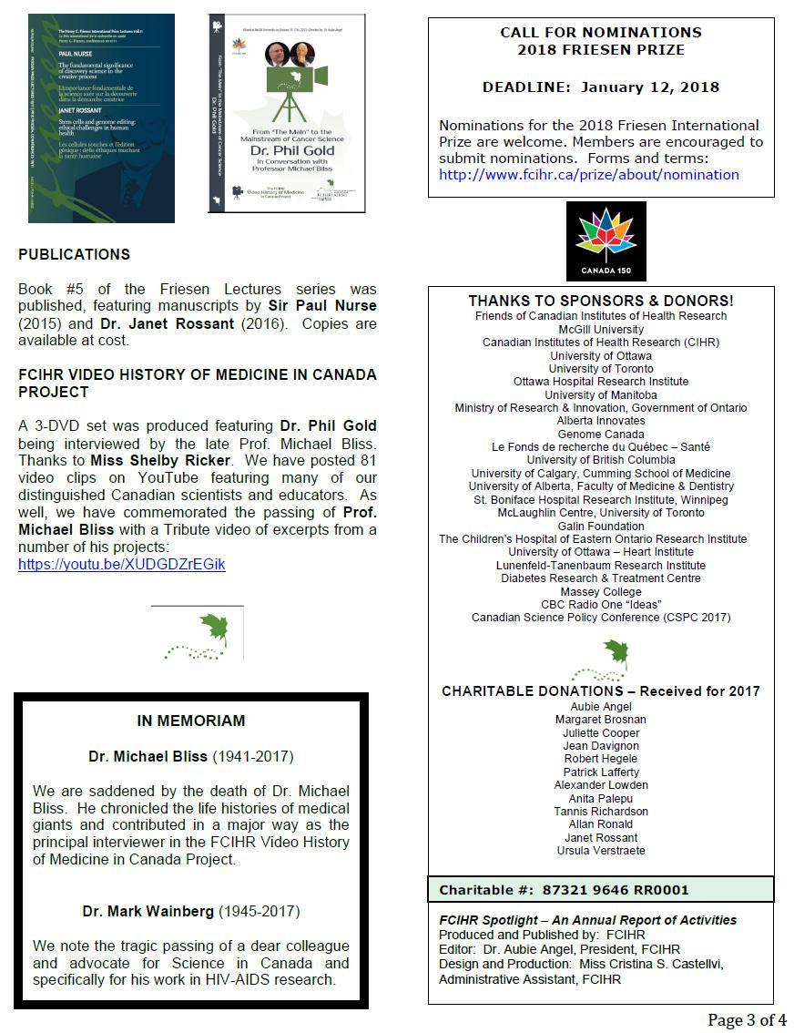 Page 3 - 2017 Spotlight Newsletter of FCIHR