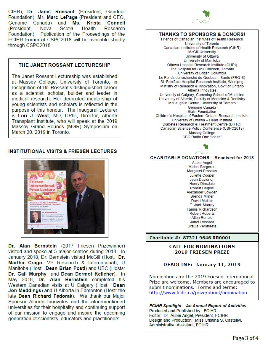 Page 3 - 2018 Spotlight Newsletter of FCIHR_As of December 4, 2018