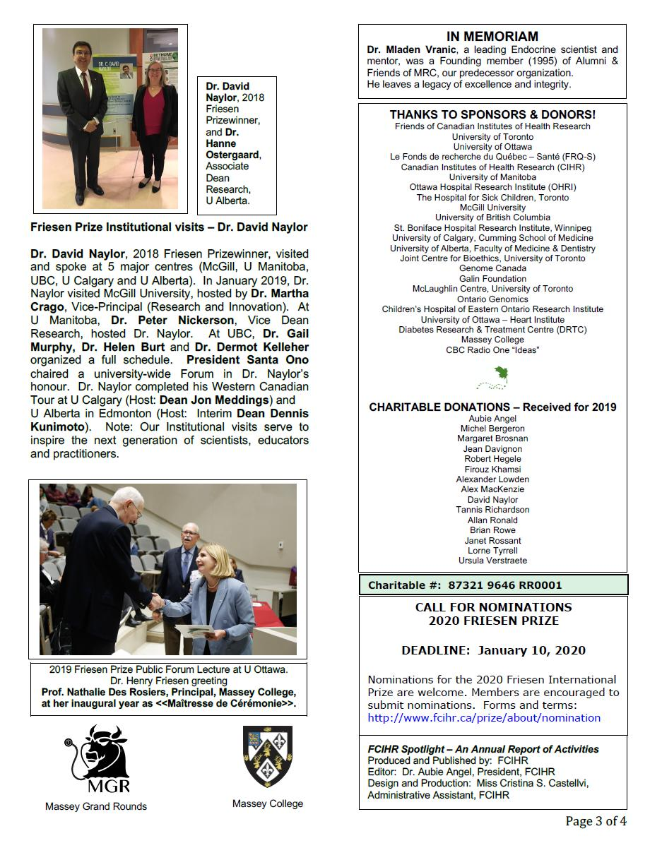 Page 3 - 2019 Spotlight Newsletter of FCIHR