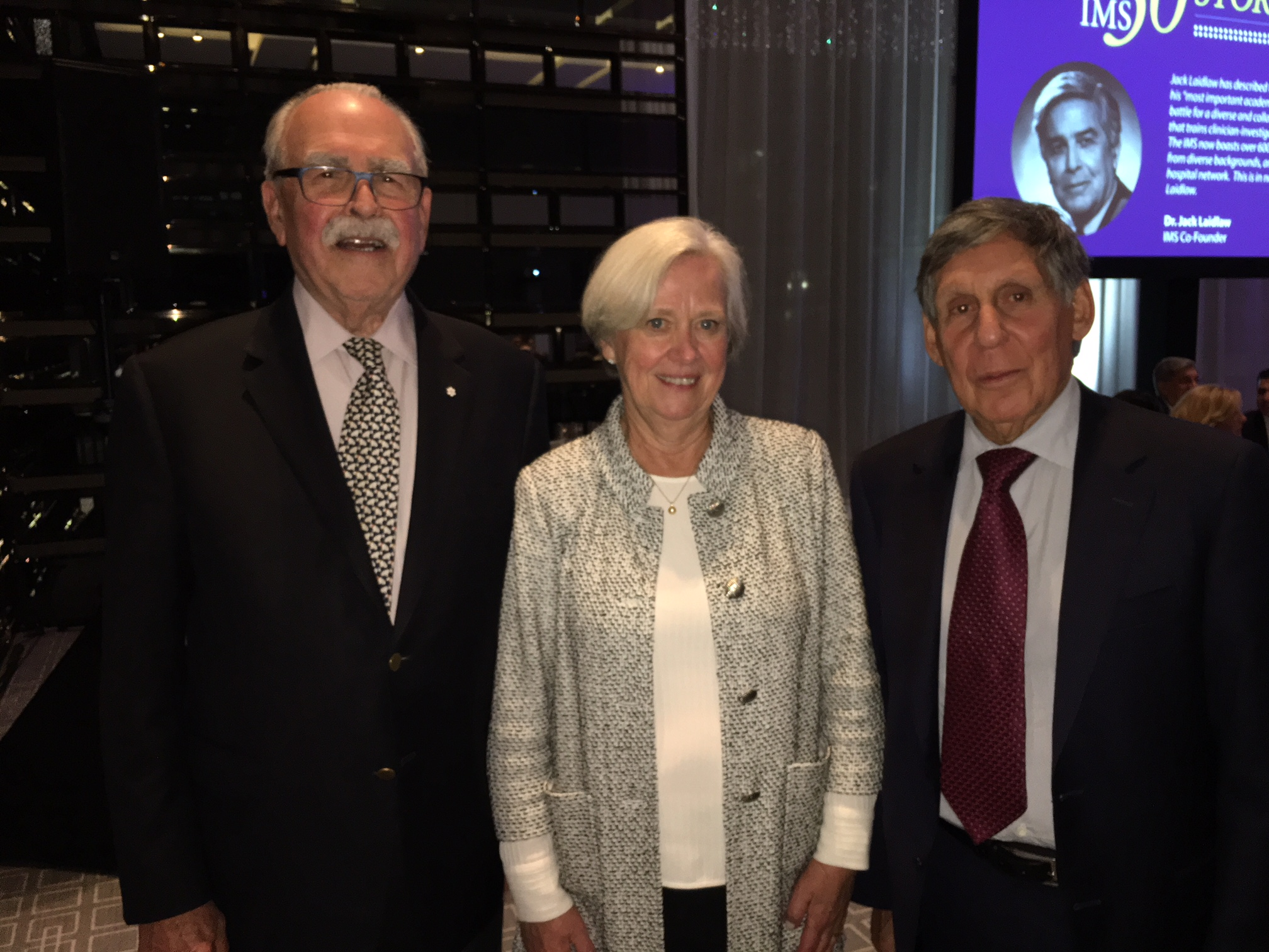 Photo - Left to Right: Dr. Aubie Angel, Dr. Shirley M. Tilghman, Dr. Mel Silverman - IMS50 at U of T - October 3, 2018