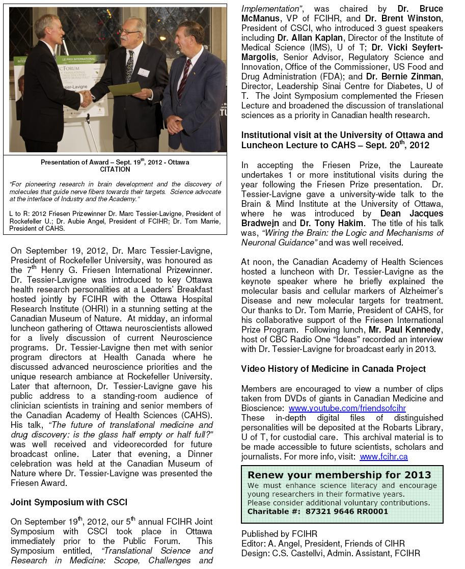 2012 FCIHR Newsletter
