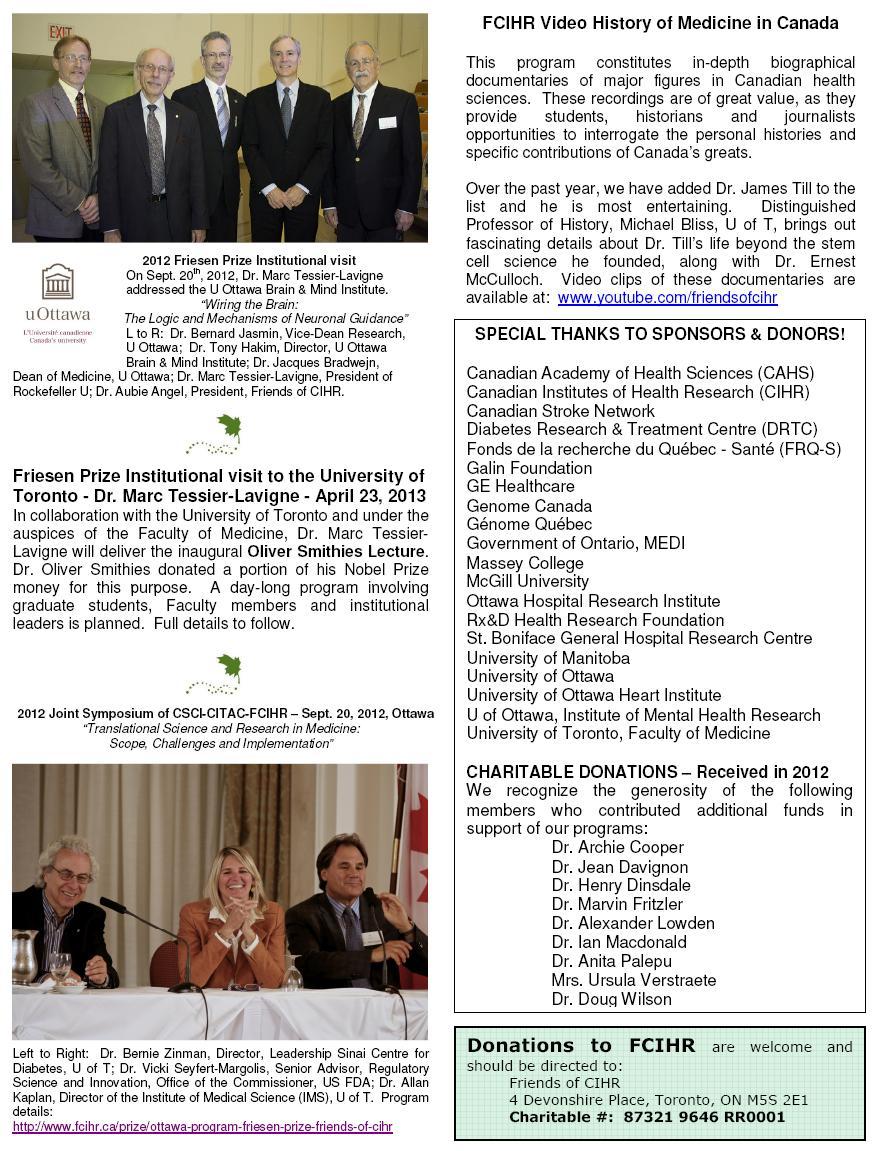 Page 3 - 2012 FCIHR Newsletter