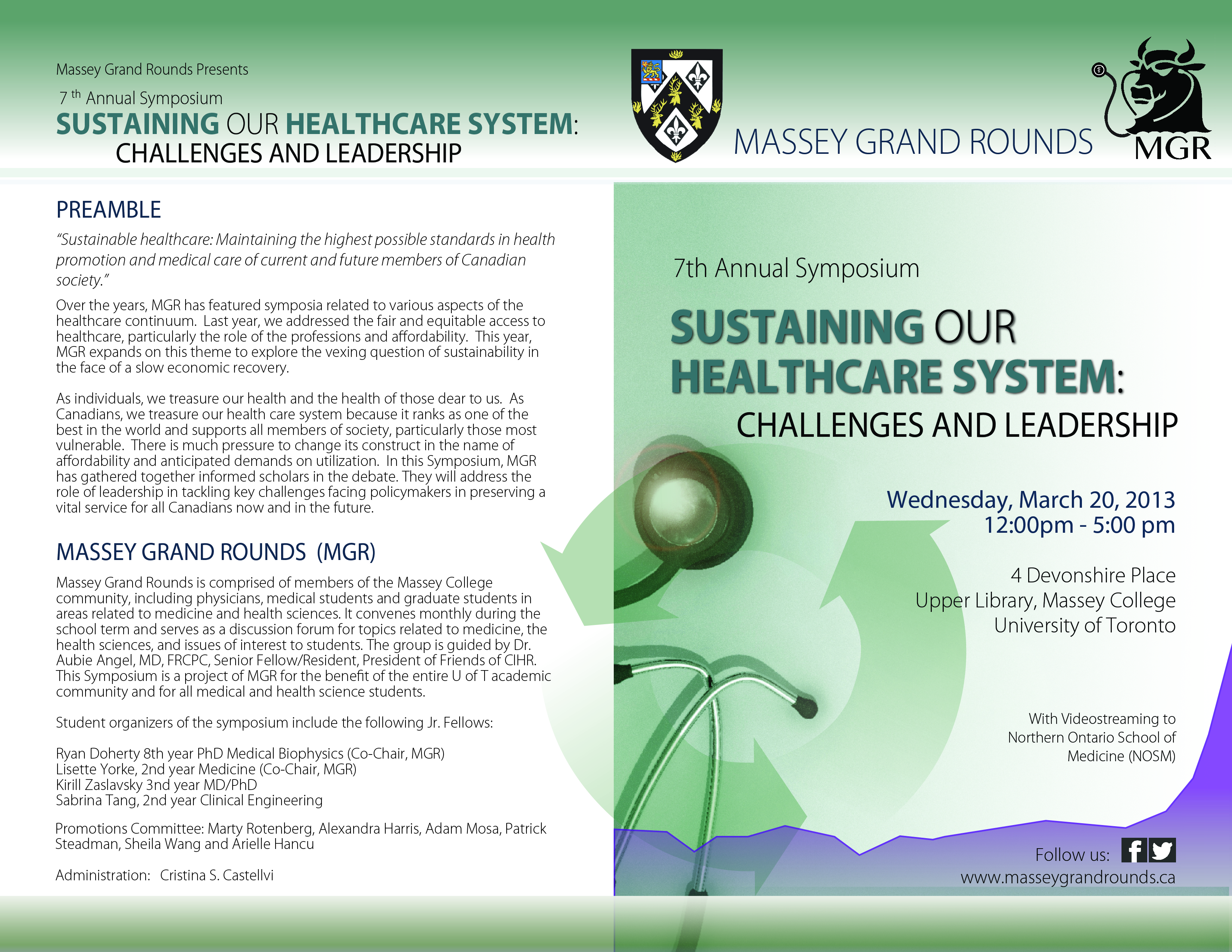 Brochure - 2013 Massey Grand Rounds Symposium - Front & Back Cover