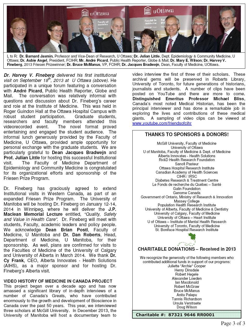 2013 FCIHR Newsletter