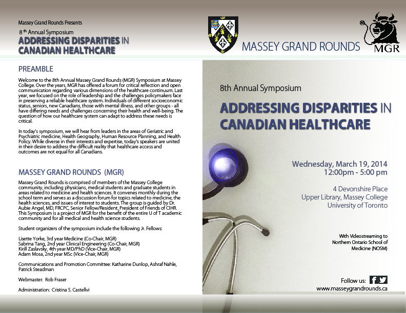 2014 Massey Grand Rounds Symposium - Brochure - Front & Back Cover - March 19