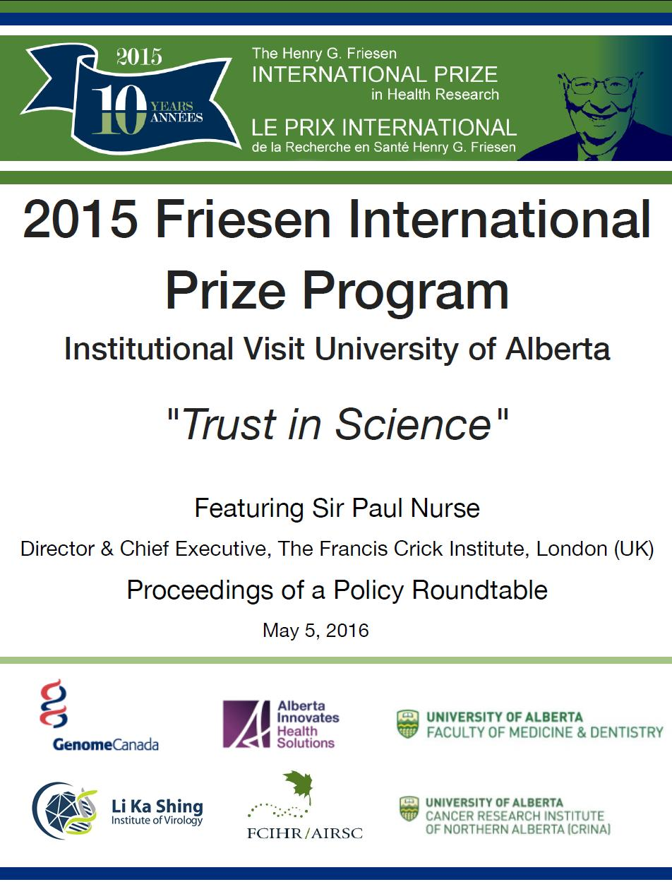 Proceedings - 2016 Alberta Roundtable - FCIHR