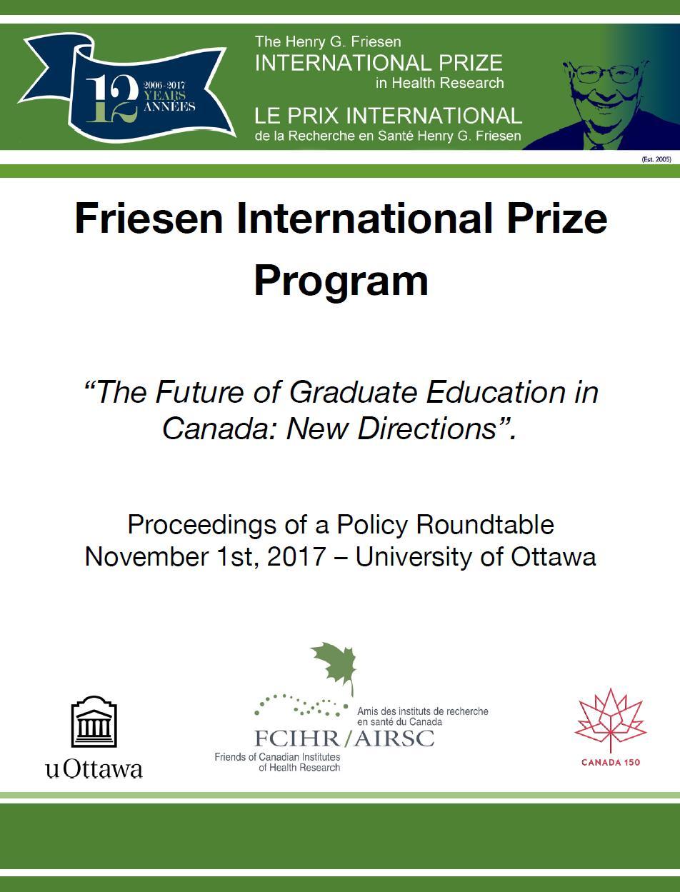 Proceedings - 2017 Roundtable - Ottawa - FCIHR
