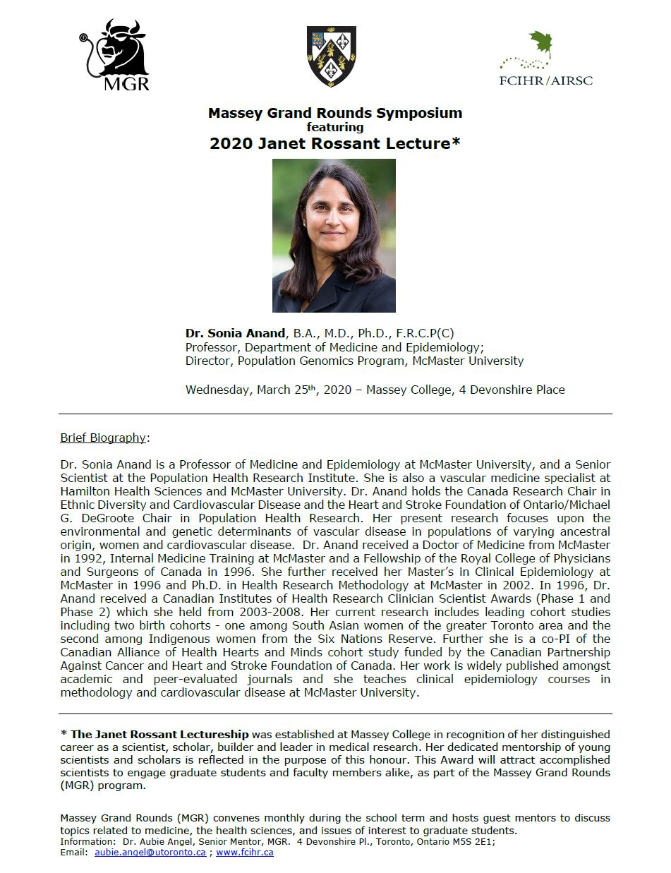 Announcement - Dr Sonia Anand - 2020 Rossant Lecture