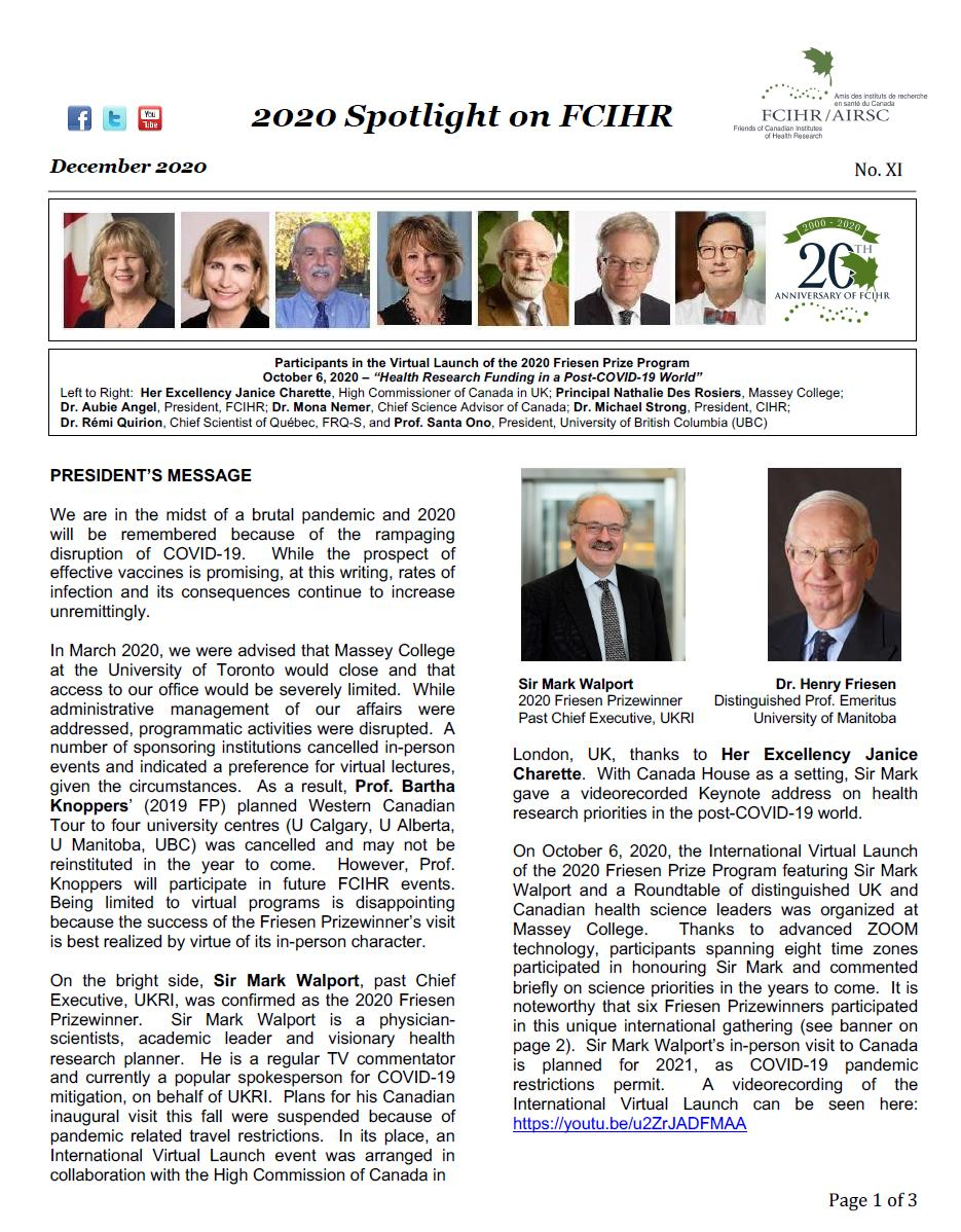 Page 1 - 2020 Spotlight Newsletter of FCIHR
