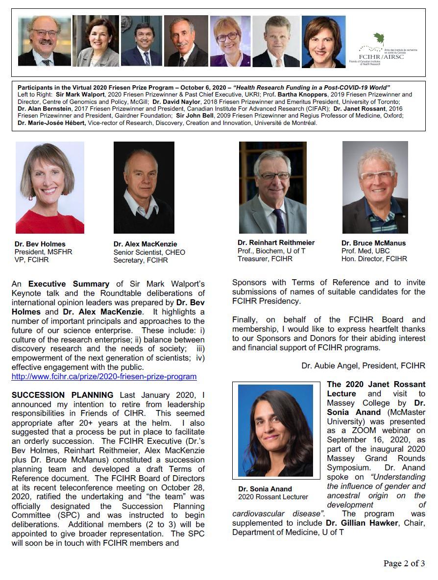 Page 2 - 2020 Spotlight Newsletter of FCIHR