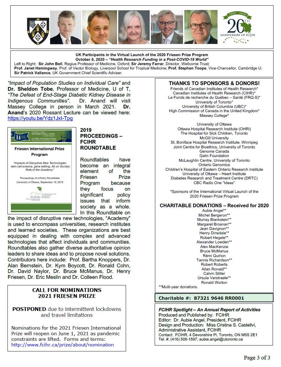 Page 3 - 2020 Spotlight Newsletter of FCIHR